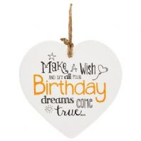 Make A Wish And Let All Your Birthday Dreams Come True Ceramic Hanging Heart...